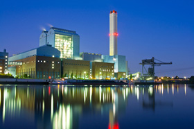 power plant in the evening